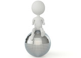 3d humanoid character sitting on a disco ball