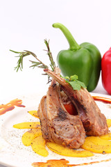 Grilled rib lamb black pepper with souse
