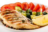 Grilled chicken breast and vegetables
