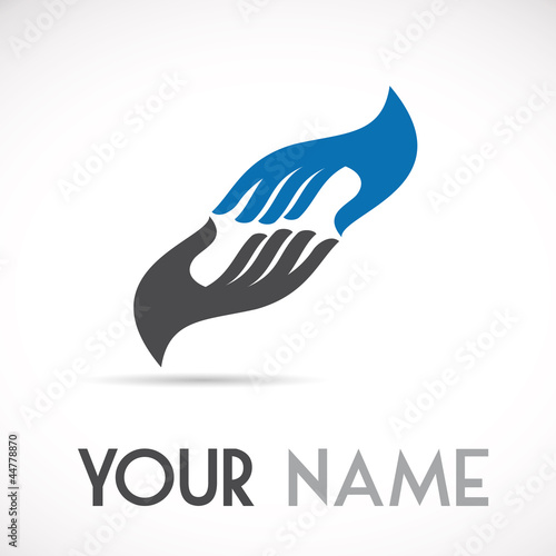 Logo solidarity, hands touching # Vector