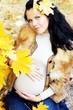Portrait of beautiful pregnant woman walking in autumn park