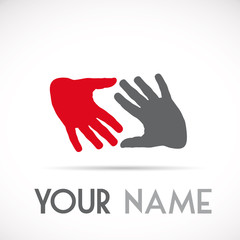 Logo letter S solidarity, hands touching # Vector