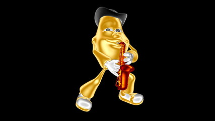 Golden 3D mr. Multic playing the saxophone. Loop movie.