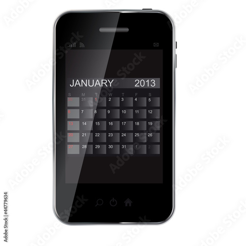 2013 year calendar on abstract  design phone. Vector illustratio
