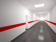 An abstract white corridor with doors and red lines