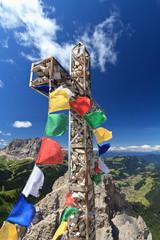Dolomiti - cross with flags on Cir mount
