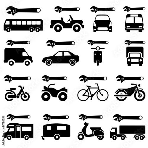 Conjunto pictogramas reparacion de vehiculos