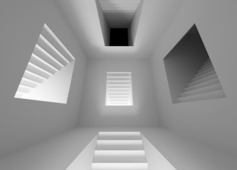 Gray abstract  interior with lighting stairway portals