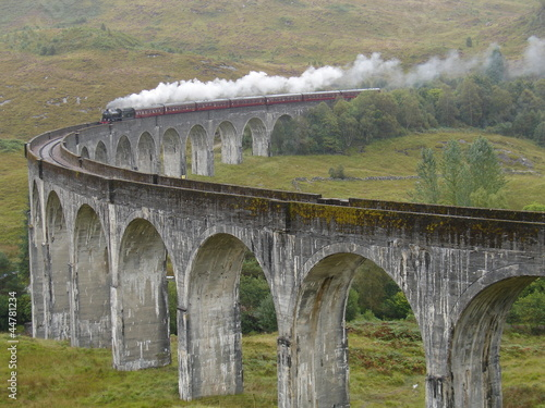 Train on Glenfinnan viaduct. Scotland.