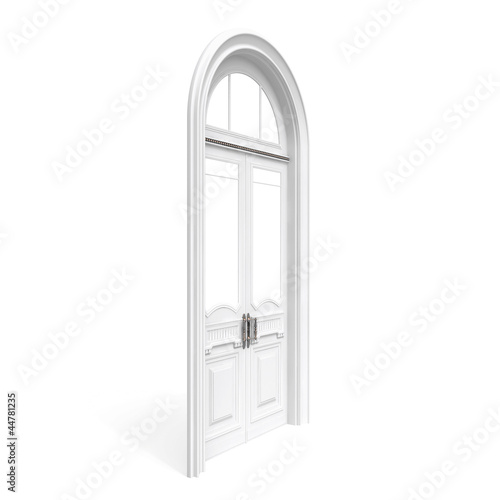 white wooden door, half-turn isolated on white