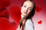 Photo of beautiful woman with red hearts