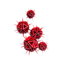 virus as a few red sharp objects with spikes isolated on white