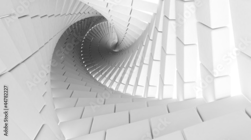 Abstract helix nade of white blocks