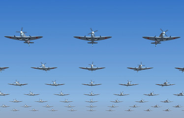 Spitfire fighters flying overhead. 3d illustration