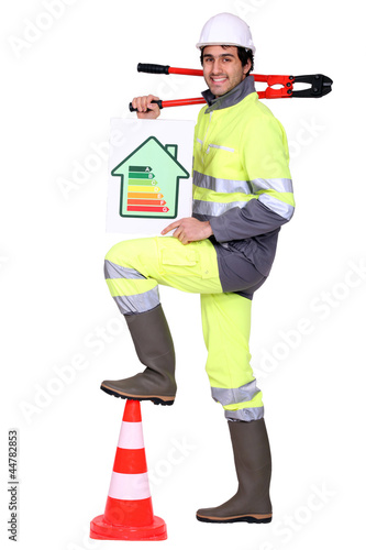 A road worker promoting energy savings.