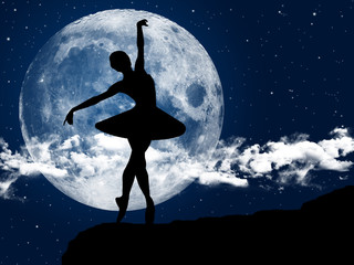 Ballerina dancing at moonlight