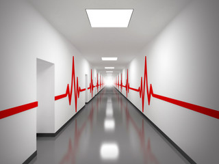 white hospital corridor with doors and red pulse lines
