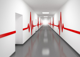 hospital corridor with doors and red pulse lines on walls