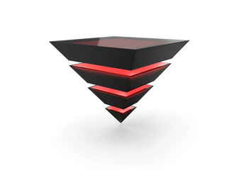 red layered pyramid made of black glass isolated