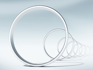 3d render illustration: flight through curved tunnel of rings