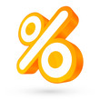 Orange/White Percent Sign 3D Sale