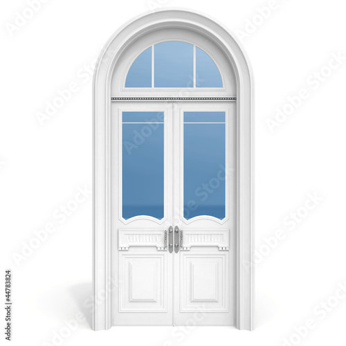 white wooden door with reflected glass sections,  isolated on wh