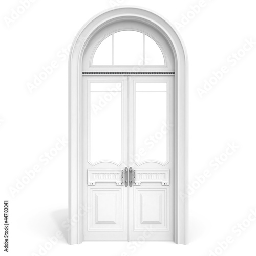 white wooden door  isolated on white with soft shadow