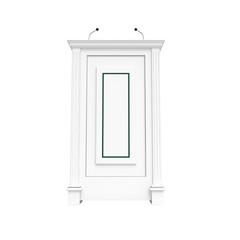 White wooden podium isolated on white
