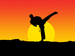 Man practicing karate at sunset