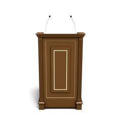Tribune podium with microphones
