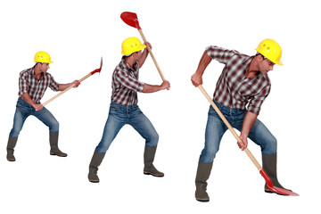 Three shots of a construction worker with a shovel