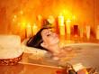Woman take bubble  bath.