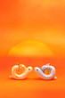 巳年の日の出に向き合うハート型の夫婦蛇