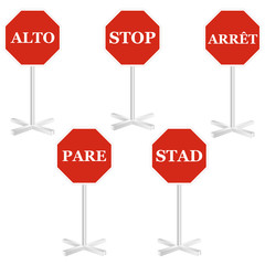 STOP sign in 5 different universal language.