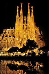 Sagrada Familia at night in Barcelona, Spain