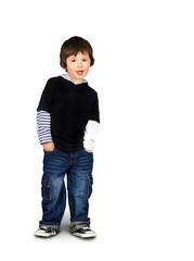 Hip little boy talking