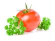 Fresh Juicy Tomato and parsley isolated on white background