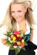 Frau mit Dirndl hält Blumen