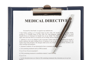 Medical directive document in a clipboard