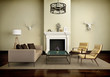 Beige interior fireplace modern atmospheric lounge living room