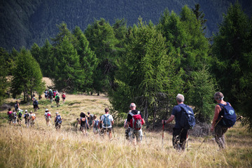 trekking people