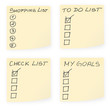 Empty sticky notes and to-do lists