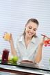 Happy Woman Having Orange Juice