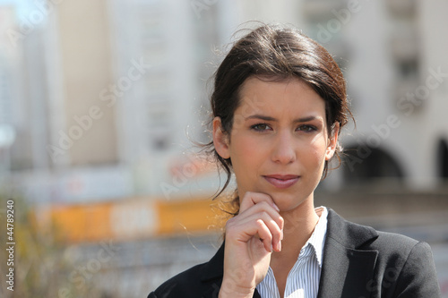 Businesswoman outside office