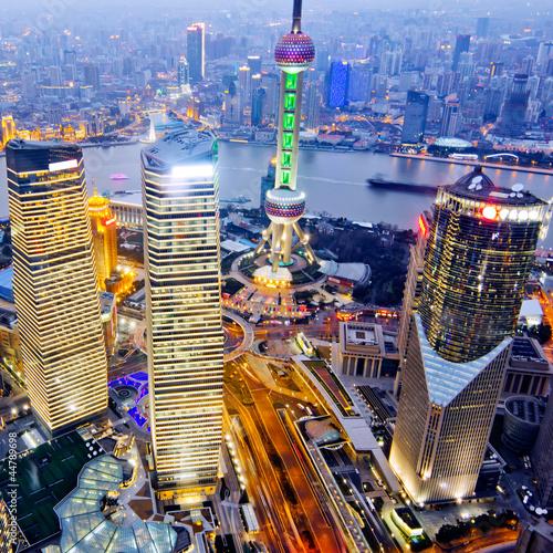 Poster night view of China shanghai