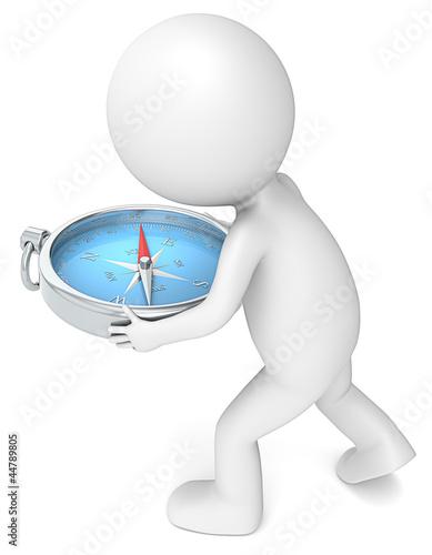 3D little human character Holding a Compass. Blue.