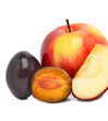 Ripe sweet plum and red apples