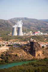 The village of Cofrentes, Spain and its nuclear plant.