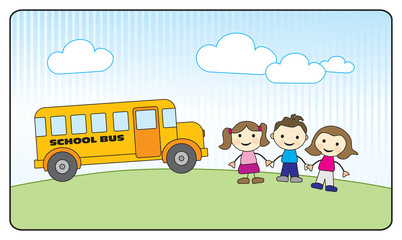 Three school kids holding hands and yellow school bus