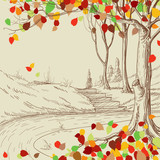 Autumn tree in the park sketch, bright leaves falling